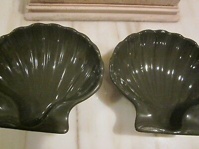 Lot of Two Vintage Hall China Clam Dark Green Shell Baking Dish 230 Made in USA