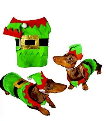 Pet Christmas Elf Dog Costume Fancy Dress Outfit with Hat Festive Xmas Coat