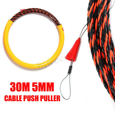 30M 5mm Cable Push Puller Rodder Conduit Snake Fish Tape Tested 650KG Wire
