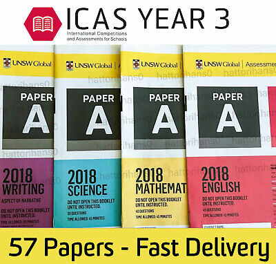 ICAS 2018 Past Papers Year 3 (Paper A) all subjects fast delivery - 57 papers