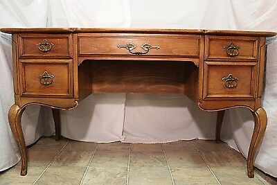 "DESK ANTIQUE WRITING OFFICE VANLEIGH SOLID WOOD DOUBLE SIDED 52"" Long DESIGNER"