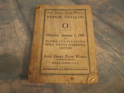 1930 John Deere Repairs Catalog PLOWS CULTIVATORS Spike tooth harrow listers