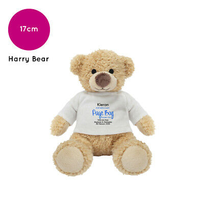Personalised Name Page Boy Harry Teddy Bear Wedding Favour Thank You Gift