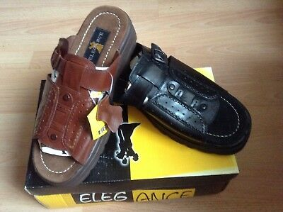 Men's genuine leather sandals slips on BRAND NEW brown black UK size 9 10 11