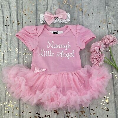 BABY GIRL NANNYS ANGEL Tutu Romper Dress PRINCESS Grandparent Newborn Gift