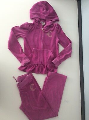 juicy couture Tracksuit Pink Velour 2 Piece Set Hoodie & Bottoms Age 10-11 Size