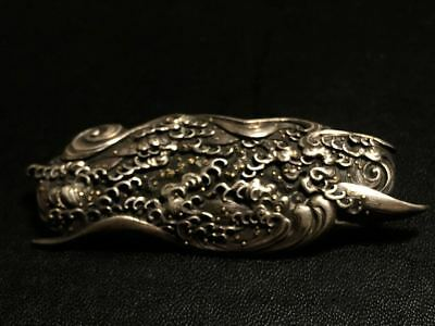 Meiji period Japanese antique silver ornament inlaid with gold vintage netsuke