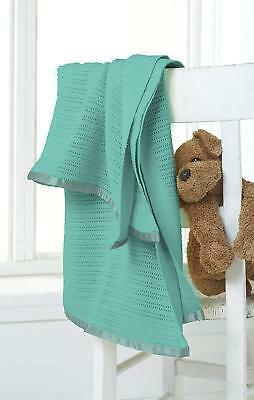 Great Knot 100% Cotton Cellular Cot Bed Pram Knitted Baby Teal 75 X 100 Blanket