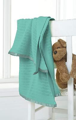 Teal Baby Blanket Great Knot 100% Cotton Cellular Cot Bed Pram Knitted 75 X 100
