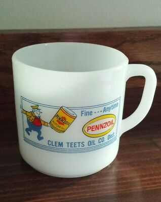 RARE Vintage Pennzoil Federal Milk Glass Coffee D Handle Mug Clem Teets Oil Co.