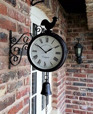 Cockerel Bell Outdoor double side Station Clock Garden Wall Outside Bracket 32cm