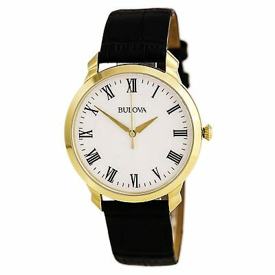 Bulova 97A123 Men's Classic White Dial Yellow Gold Steel Black Leather Str Watch