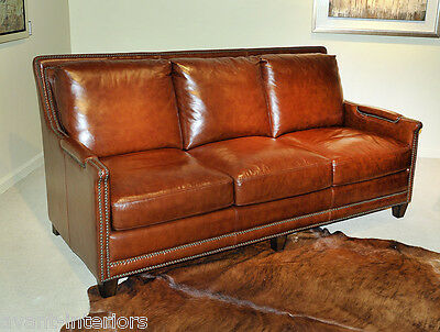 Beautiful NEW ART DECO Sofa antiqued Butterscotch GENUINE LEATHER Couch settee