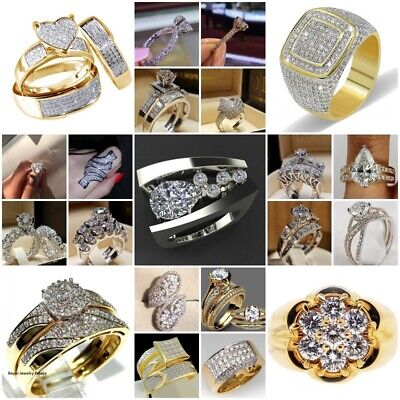 Women Jewelry 925 Silver 18K Gold Filled White Topaz Wedding Ring Gift Size 5-10