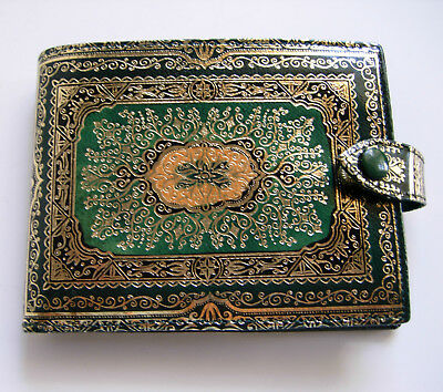 Vintage Leather Green with Gold Gilt Bi-fold Wallet, EXCELLENT Condition