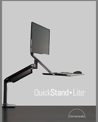 Humanscale Height Adjustable QuickStand Lite Desk: Dual Monitor Mount In Black