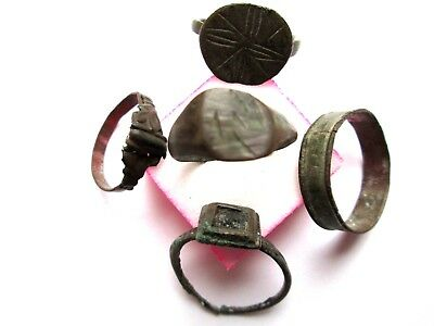 Lot of 5 rings Medieval ancient bronze Roman