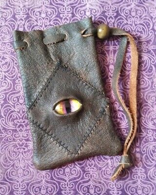 leather bag pouch drawstring renaissance medieval dice coin Stitched Eye D&D