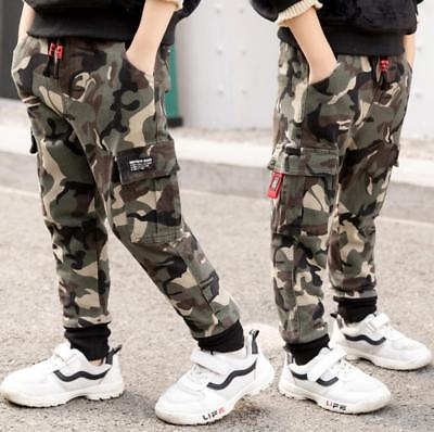 Kids Boys Camo Casual Winter Warm Tracksuit Sweat Pants Joggers Jogging Trousers