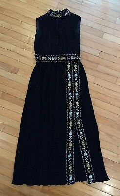 Vintage 1970's Black & Metallic Grecian Pleated Floor Length Gown M / 16 Dress
