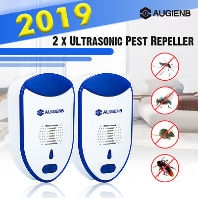 2PCS AUGIENB Ultrasonic Pest Repeller Bug Mice Mosquito Spider Insect Repellent