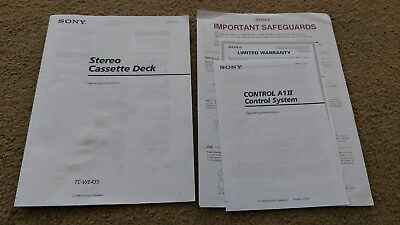 Original Sony TC-WE435 Cassette Deck Owners Manual Not A COPY A+Condition