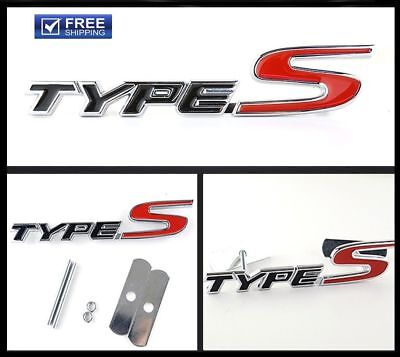 NEW 3D Metal Black Red TYPE-S Emblem Badge Bolt fixed Car SUV Grille For cars