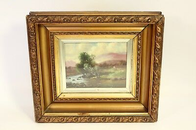 Antique William Wells Oil on Canvas Landscape Painting Signed Glass Panel Framed