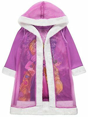 Disney Princess Rapunzel Nightdress and Cape Hooded Gown Robe  1-8 Years