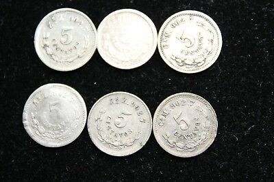 Mexico 6  coins  5 centavos from 1800s   lot J 295