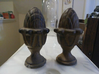 """Lot of 2 Iron Pineapple Acorn Finial / Paperweight / 4"""" HEAVY"""