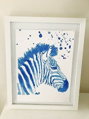 Watercolor Original Painting Modern Wall Art Blue Zebra Unframed