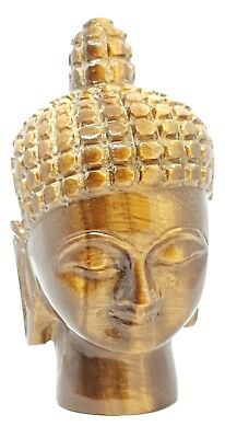 Large Tigers Eye Crystal Carved Buddha Head Gemstone Buddhism Spiritual 285gm