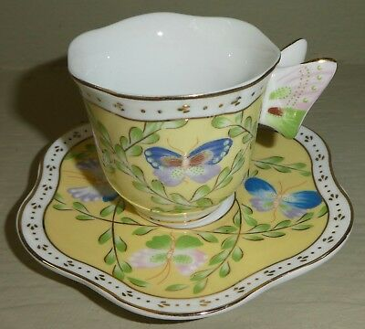 Butterfliy Handle Floral Demitasse Cup &Saucer Yellow Formalities Baum Bros DR18