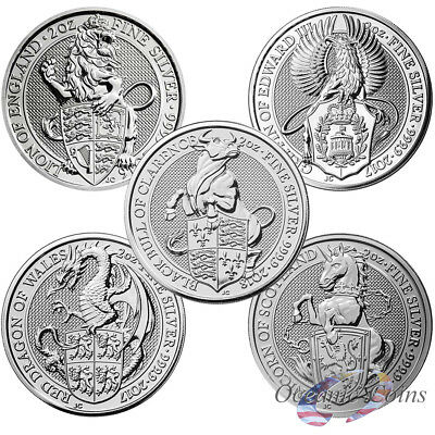 Collector Set-Lot Of 5-Queen Beasts Silver 5 Coins United Kingdom 10 Oz Total