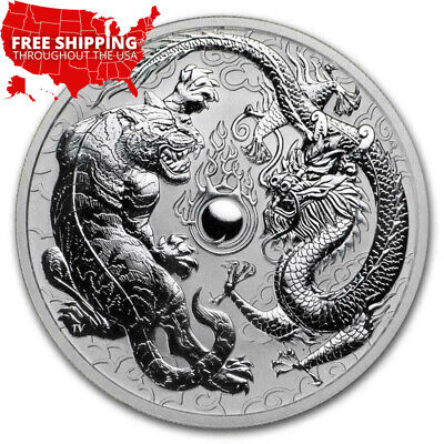 New 2018 Australia Dragon & Tiger 1 oz.Perth Mint Silver Coin FREE Shipping