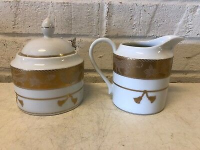 "Lynn Chase ""Gold Jungle"" Fine China Porcelain Sugar Bowl and Creamer"