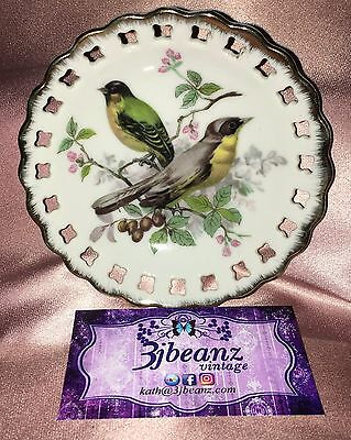 Estate Collectable ~ Small Pierced Gold Rimmed Bird Dish ~ Vintage Japan