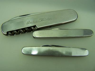 Three vintage pocket pen knives engine turned                               4085