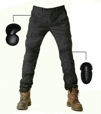 Mens Motorcycle Biker Distressed Pants Denim Moto Jeans Trousers Protection Pads