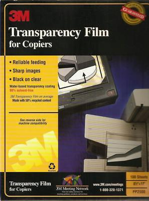 3M Transparency Film for Copiers PP2500, 100 Sheets - New / Unsealed