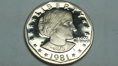 1981 S Type 2 Clear not Flat 'S' Susan B. Anthony Dollar Proof Deep Cameo