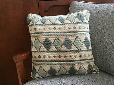 Vintage 1960's Wool Needlepoint Accent Pillow - Hand Stitched Geometric Pattern