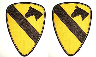 US Army 1st Cavalry Division Full Shoulder, Embroidered Unit Patch Vietnam 2 Pcs