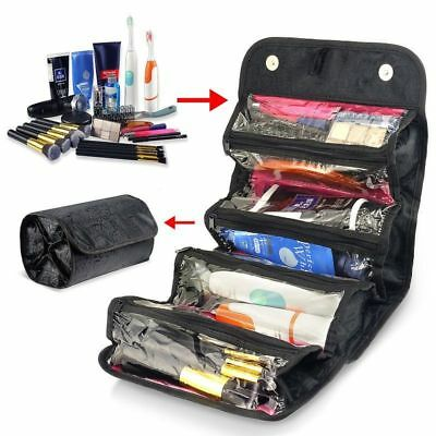 Roll-up Cosmetic Makeup Organizer Pouch Hanging Toiletry Travel Pouch Wash Bag