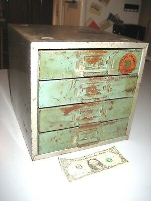 VINTAGE Quality Cabinet 4 DRAWER METAL TOOL BOX SMALL PARTS BIN STORAGE CABINET