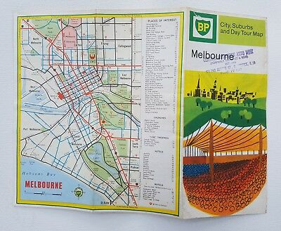 1960's B.P. MELBOURNE City, Suburbs & Day Tours MAP Never been used.  Like NEW