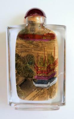 Vtg. Chinese Hand Reverse Painted Glass Snuff Bottle Village Scene Both Sides