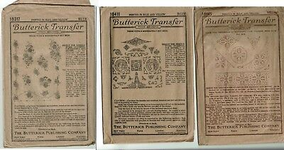 Antique Lot of Transfer Embroidery Patterns - Butterick 10411 10317 10945