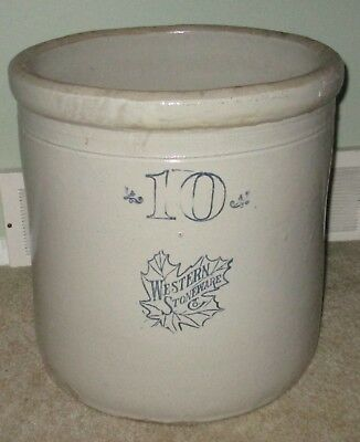 """Vintage Antique Large Western Stoneware 10 Gallon , 16"""" tall"""